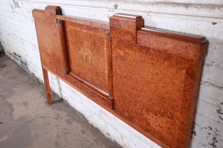 French Art Deco Burl Wood and Inlaid Marquetry King Headboard, circa 1930s For Sale 2