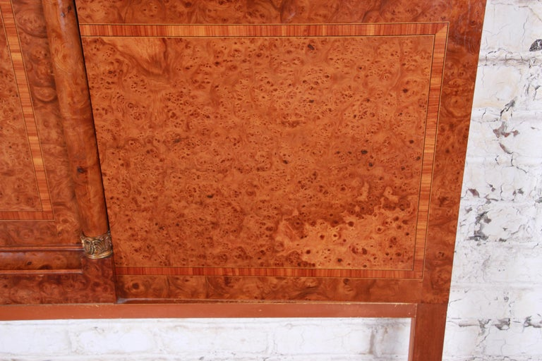 French Art Deco Burl Wood and Inlaid Marquetry King Headboard, circa 1930s For Sale 3