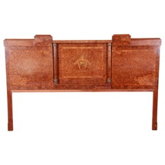French Art Deco Burl Wood and Inlaid Marquetry King Headboard, circa 1930s