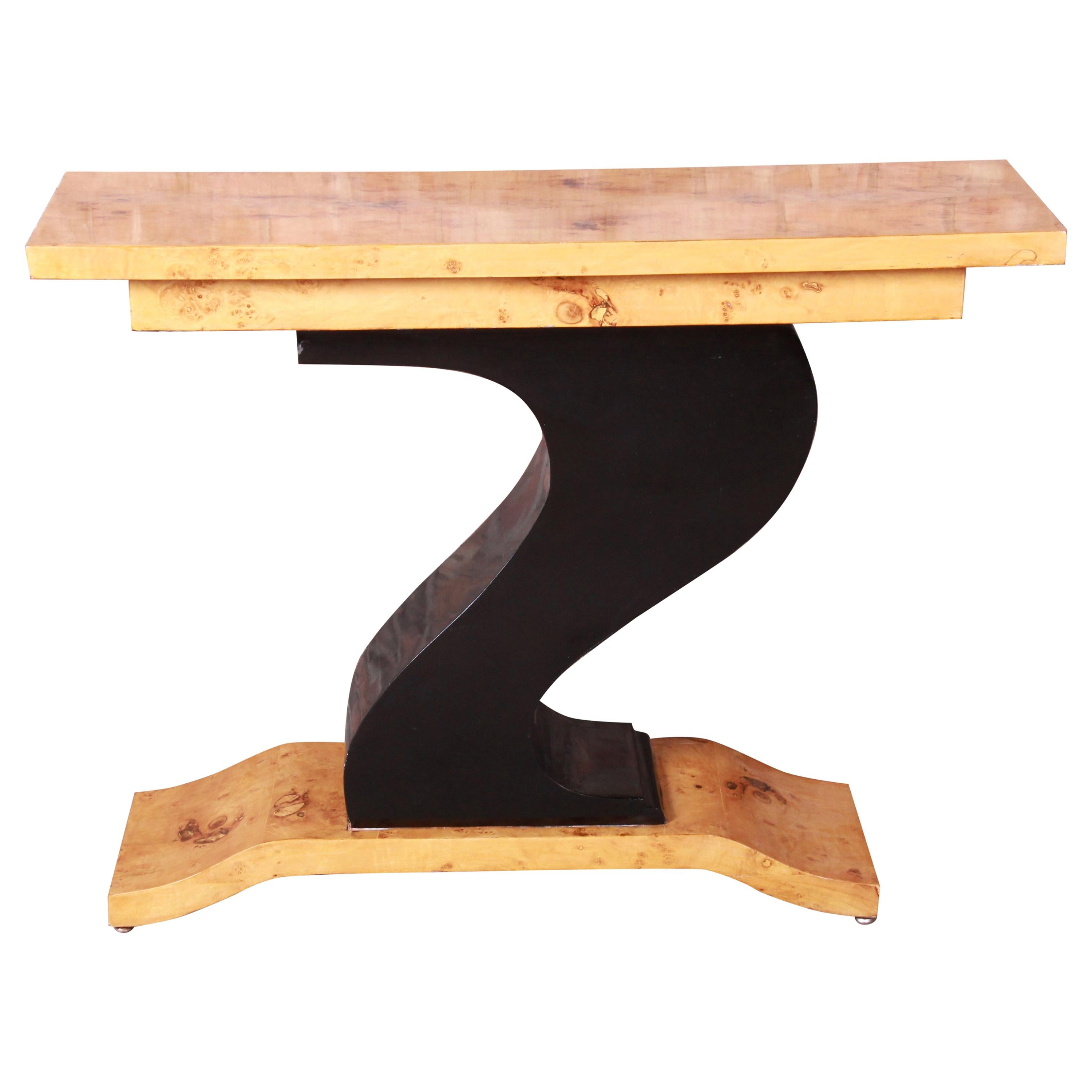 French Art Deco Burled Olive Wood and Black Lacquer Console Table, circa 1930s