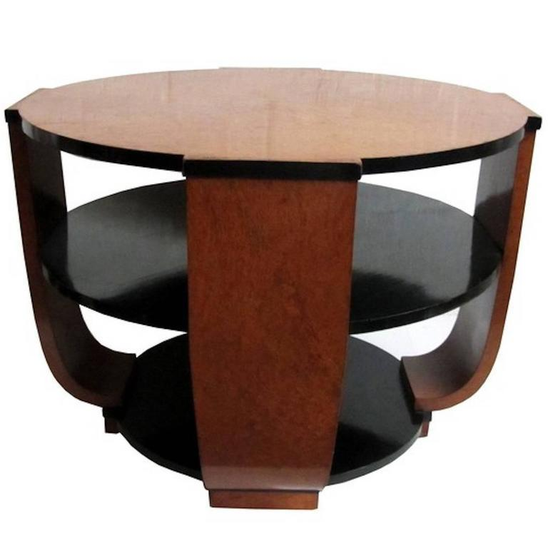 Mid-20th Century French Art Deco Burlwood Coffee or Centre Table For Sale