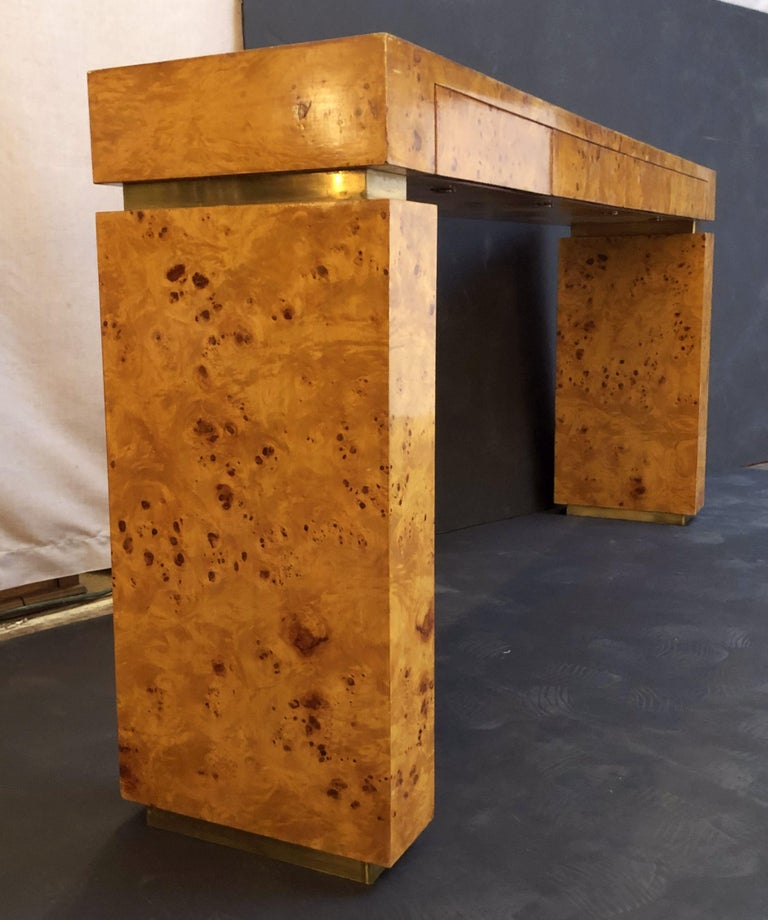 French Art Deco Burr Wood Console Table Attributed to Jean Claude Mahey For Sale 8