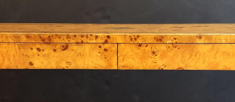 French Art Deco Burr Wood Console Table Attributed to Jean Claude Mahey For Sale 11