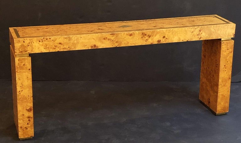 20th Century French Art Deco Burr Wood Console Table Attributed to Jean Claude Mahey For Sale