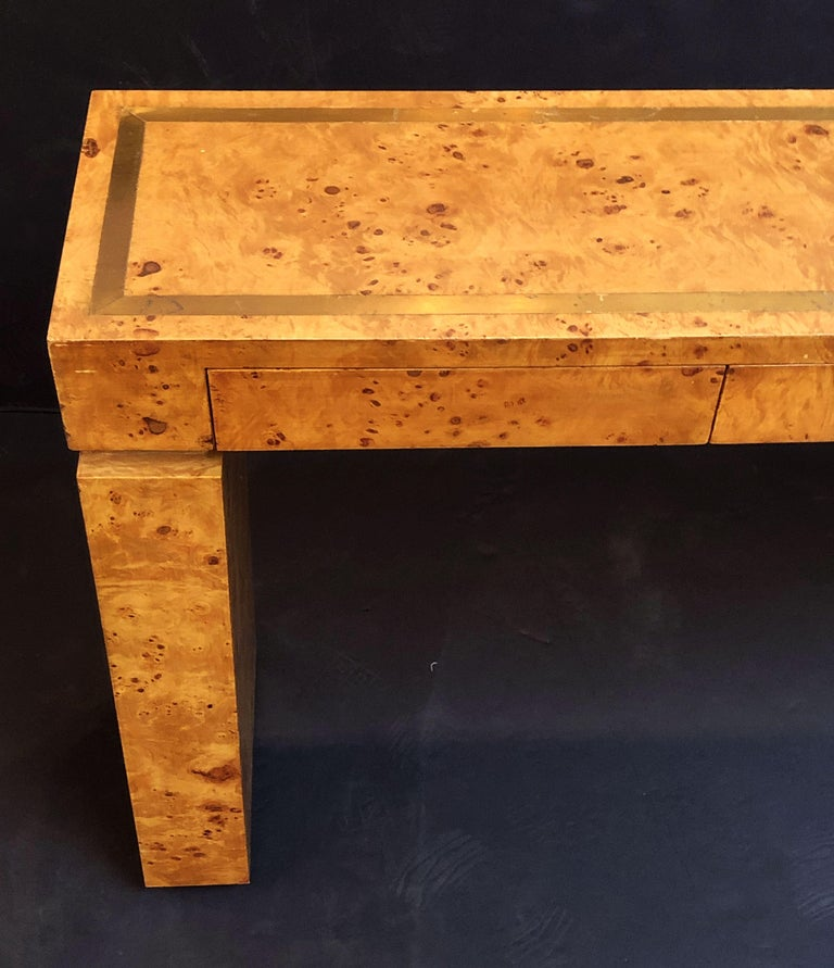 Felt French Art Deco Burr Wood Console Table Attributed to Jean Claude Mahey For Sale