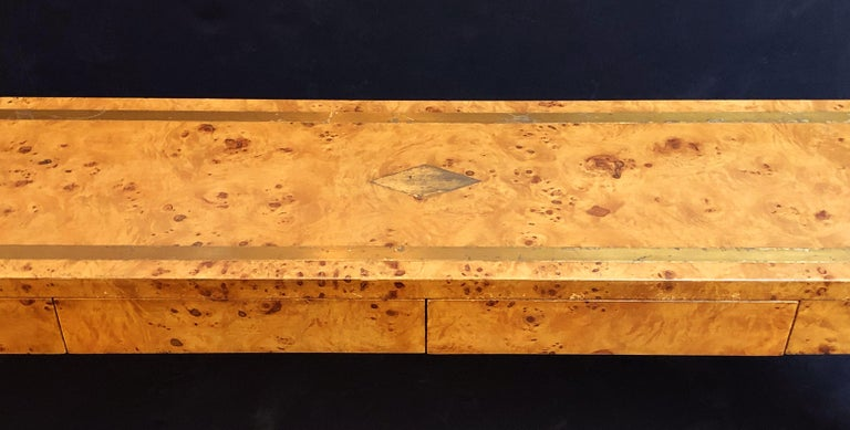 French Art Deco Burr Wood Console Table Attributed to Jean Claude Mahey For Sale 1