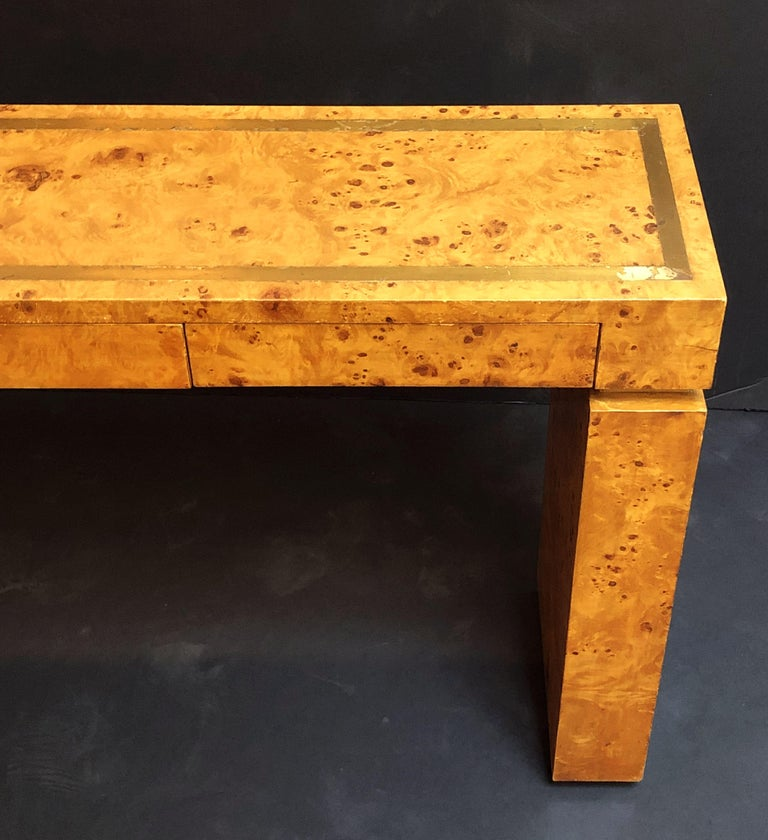 French Art Deco Burr Wood Console Table Attributed to Jean Claude Mahey For Sale 2