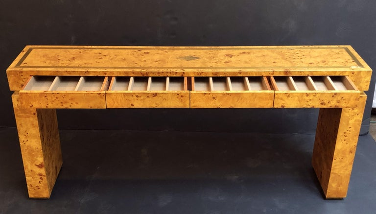 French Art Deco Burr Wood Console Table Attributed to Jean Claude Mahey For Sale 3