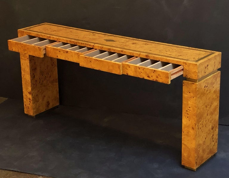 French Art Deco Burr Wood Console Table Attributed to Jean Claude Mahey For Sale 4