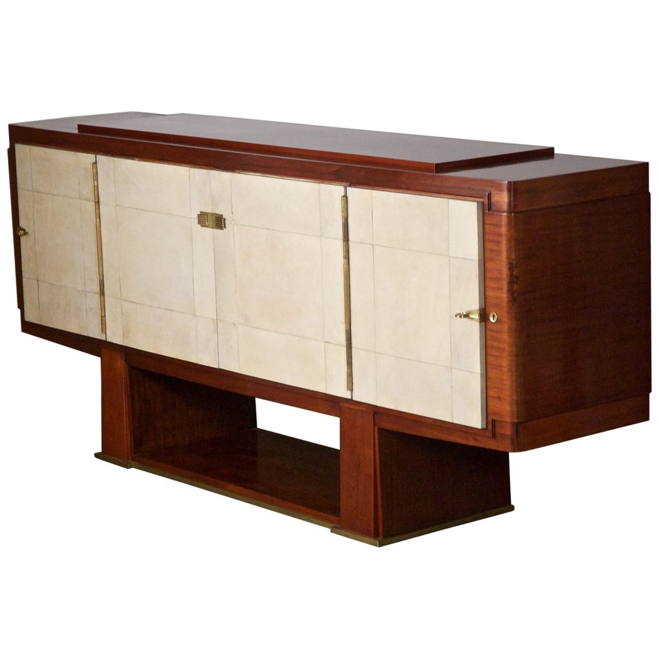 French Art Deco Cabinet by Maxime Old, Rosewood with Parchment Doors
