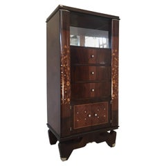 French Art Deco Cabinet in the Jules Leleu Style Mahogany and Mother of Pearl