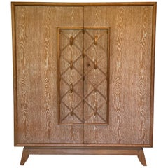 French Art Deco Cabinet of Cerused Oak, 1940s