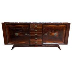 French Art Deco Cabinet / Sideboard, Macassar Ebony, Stylized Bronze Hardware