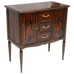 French Art Deco Cabinet with Two Doors Macassar Commode Drawers in the Center