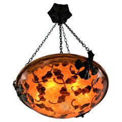 French Art Deco Cameo Glass Chandelier