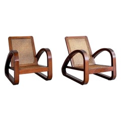 French Art Deco Caned Chairs