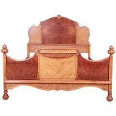 French Art Deco Carved Burled Walnut and Satinwood Full Size Bed, circa 1930s