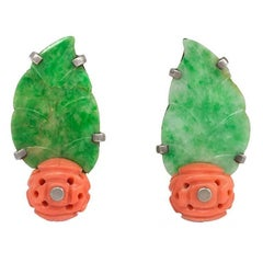 French Art Deco Carved Jade Leaf and Coral Earrings