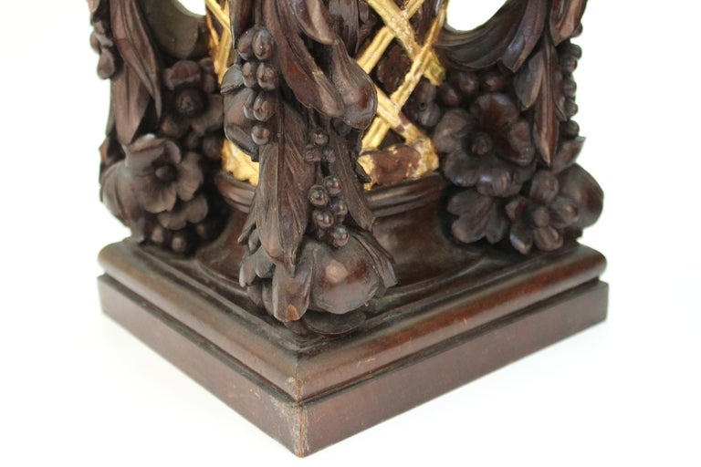 French Art Deco Carved Wood Decorative Floral Baskets Attributed to Sue Et Mare For Sale 7