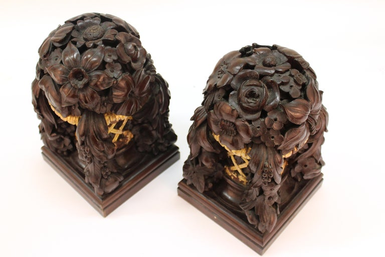 French Art Deco Carved Wood Decorative Floral Baskets Attributed to Sue Et Mare For Sale 9