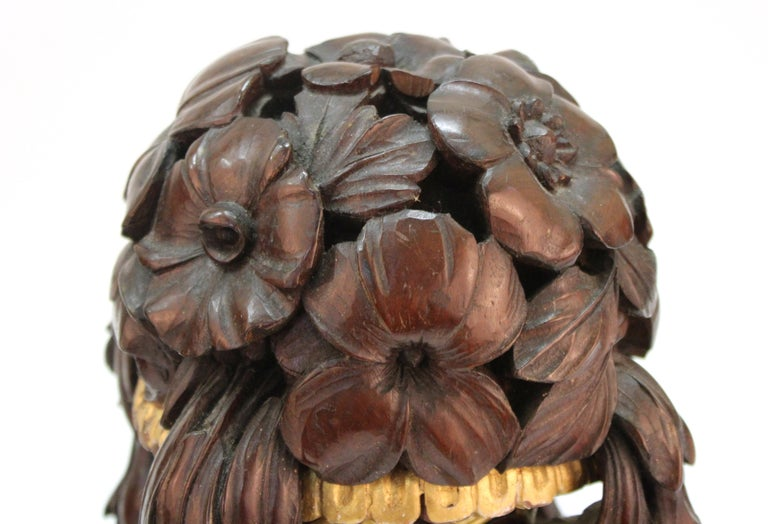 French Art Deco Carved Wood Decorative Floral Baskets Attributed to Sue Et Mare For Sale 1