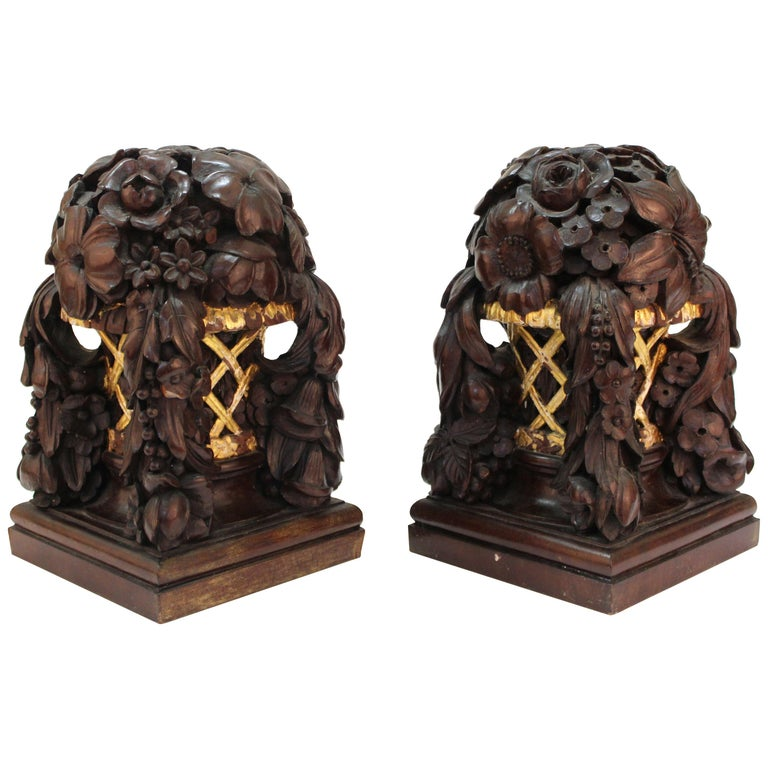 French Art Deco Carved Wood Decorative Floral Baskets Attributed to Sue Et Mare For Sale