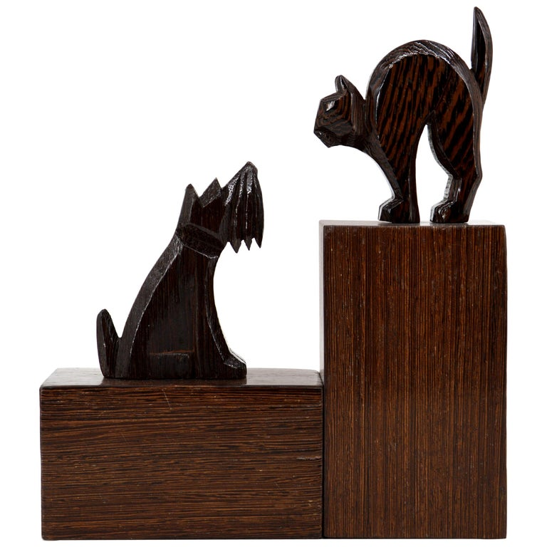 French Art Deco Cat and Dog Bookends, 1930s For Sale