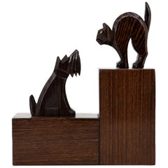 French Art Deco Cat and Dog Bookends, 1930s