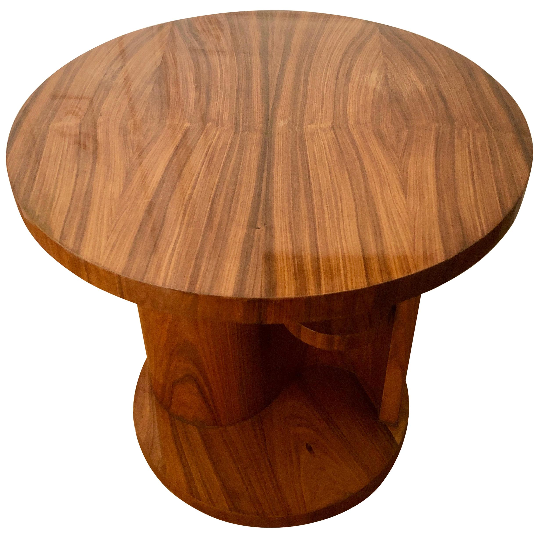 French Art Deco Center Table in Walnut Veneer, 1930