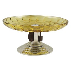 French Art Deco Centerpiece Bowl Glass Macassar Wood Chrome