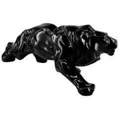 French Art Deco Ceramic Black Lion, 1930s