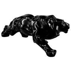 French Art Deco Ceramic Black Lion, 1930s