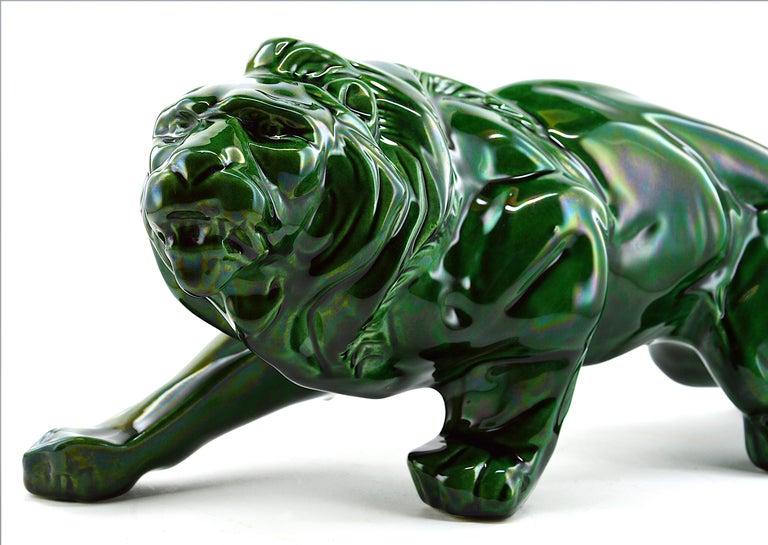 Mid-20th Century French Art Deco Ceramic Lion Sculpture, 1930s For Sale