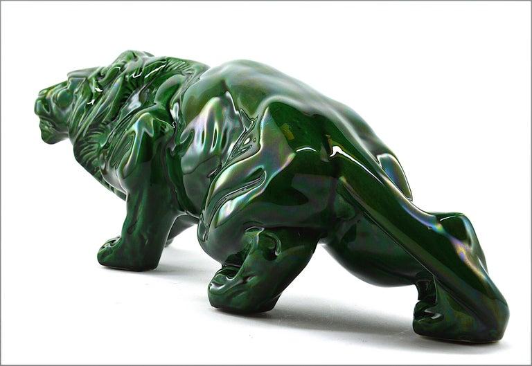 French Art Deco Ceramic Lion Sculpture, 1930s For Sale 1