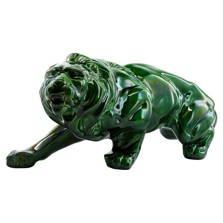 French Art Deco Ceramic Lion Sculpture, 1930s For Sale