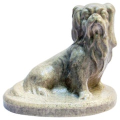 French Art Deco Ceramic Pekingese Dog Sculpture by Louis Fontinelle