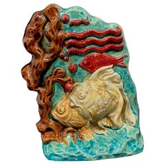 French Art Deco Ceramic Sculpture with Fishes, Glazed, 1920 by Susse Freres
