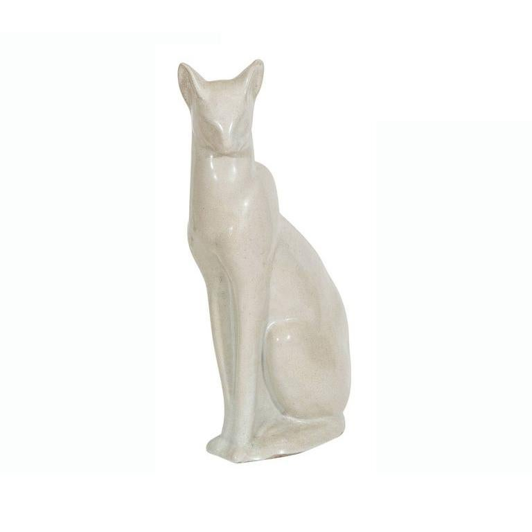 French Art Deco Ceramic Siamese Cat Sculpture For Sale
