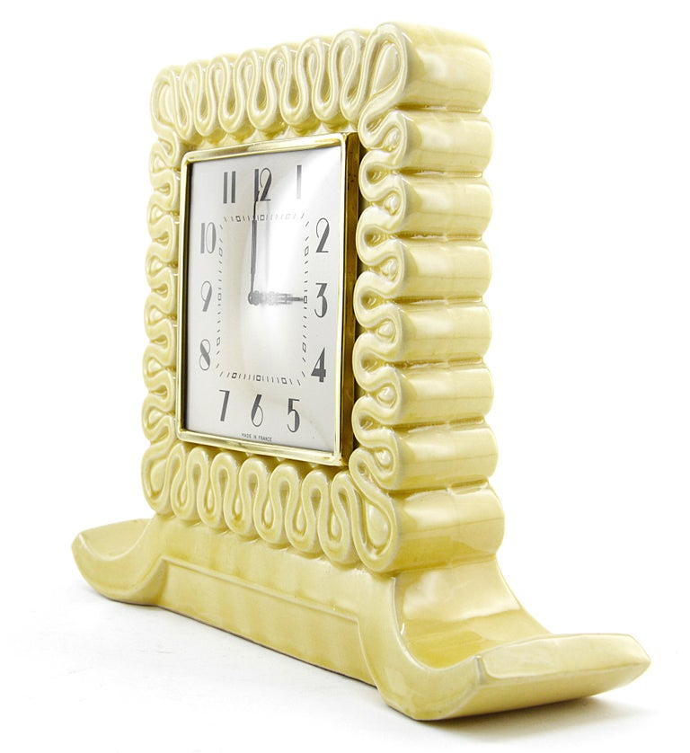 Mid-20th Century French Art Deco Ceramic Table Clock, 1930s For Sale