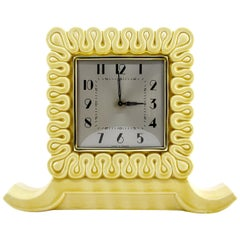 French Art Deco Ceramic Table Clock, 1930s