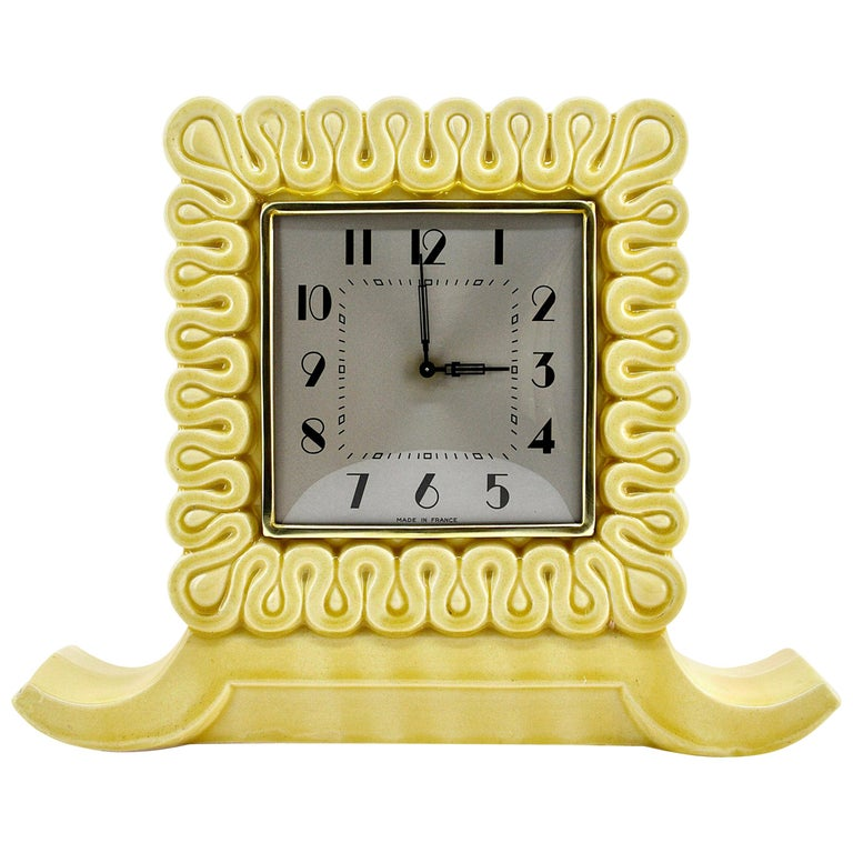 French Art Deco Ceramic Table Clock, 1930s For Sale