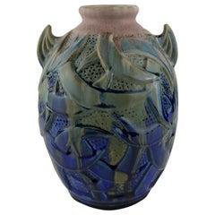 Stunning French Art Deco Ceramic Vase by Gilbert Menetier, Signed