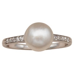 French Art Deco Certified Natural Pearl Diamond Platinum Ring