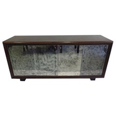 French Art Deco Cerused Oak & Mercury Mirrored Sideboard, Eugene Printz, 1930
