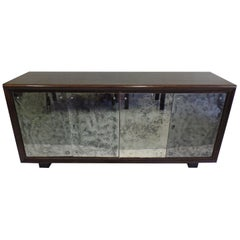 French Art Deco Cerused Oak and Mercury Mirrored Sideboard, Eugene Printz, 1930