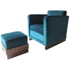 French Art Deco Chair and Footstool in Macassar Ebony