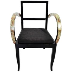 Stuhl mit Buntem Blatt Französischer Art Deco