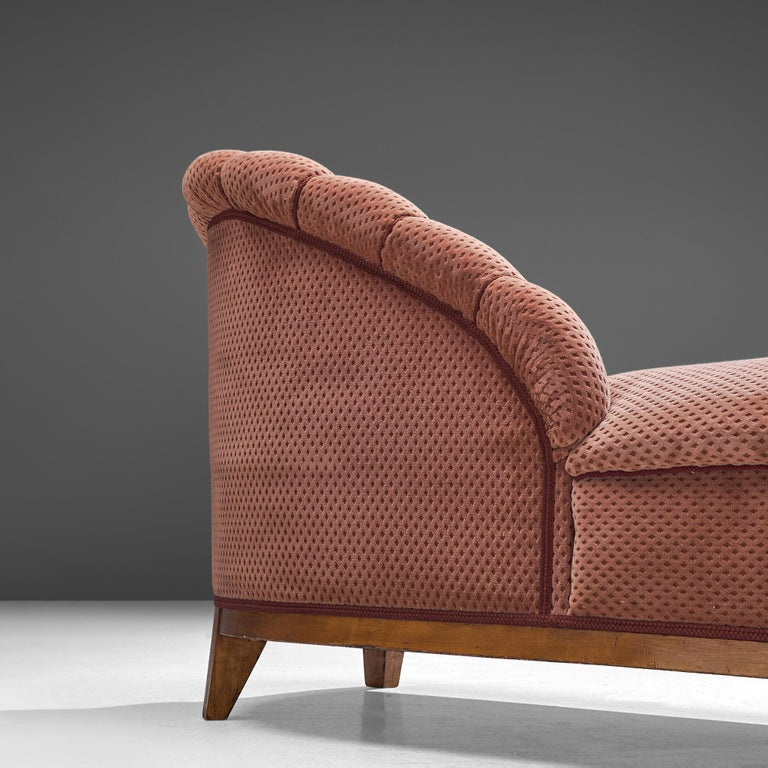 Fabric French Art Deco Chaise Longue in Soft Pink