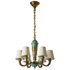 French Art Deco Chandelier, 1930s, Brass Enameled