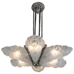 French Art Deco Chandelier, 1930s by Degue